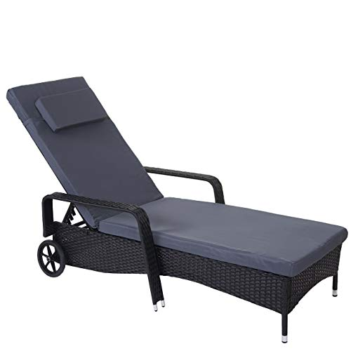 Mendler Poly-Rattan Sonnenliege Carrara, Relaxliege Gartenliege Liege, Alu ~ anthrazit, Kissen grau