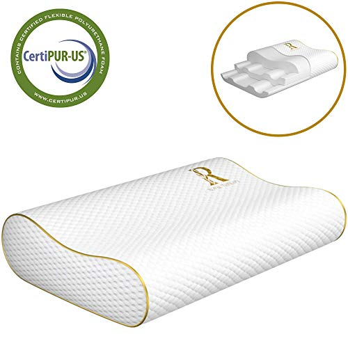 Royal Therapy Memory Foam Pillow, Neck Pillow - Bamboo Adjustable Side Sleeper Pillow for Neck &...