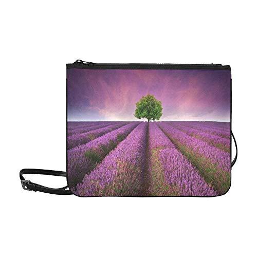 Beautiful Image Of Lavender Field Summer Sunset La Pattern Custom High-grade Nylon Slim Clutch Bag Cross-body Bag Shoulder Bag