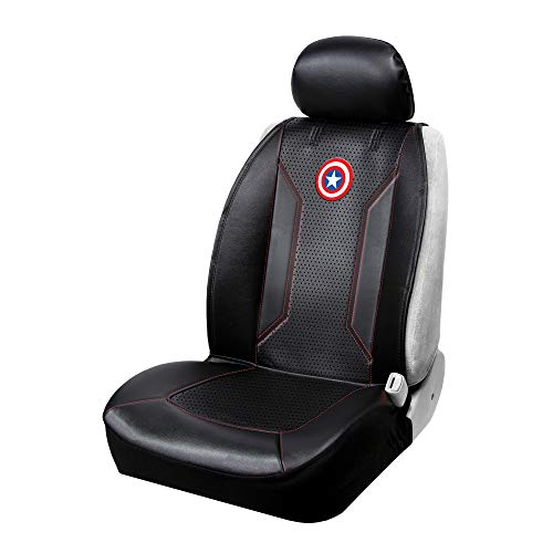 Plasticolor 008623R01 Captain America Shield Symbol Icon Marvel Premium Stitched Sideless Seat Cover with Cargo Pocket