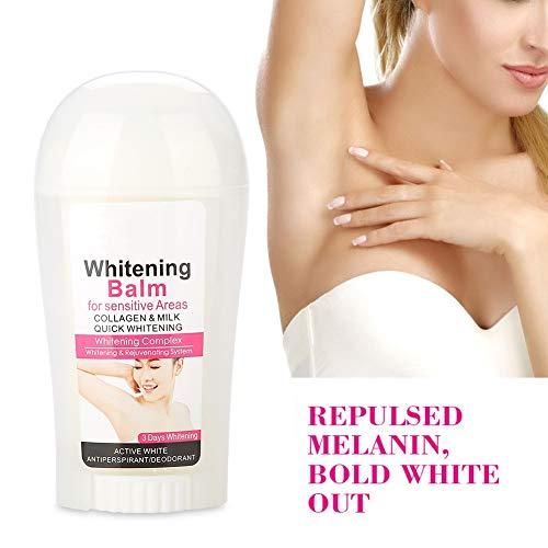 Desodorante en bola para mujer - 50g Antiperspirante natural fresco y seco para el cuerpo, antitranspirante 48h para aclarar la piel oscura crema blanqueadora