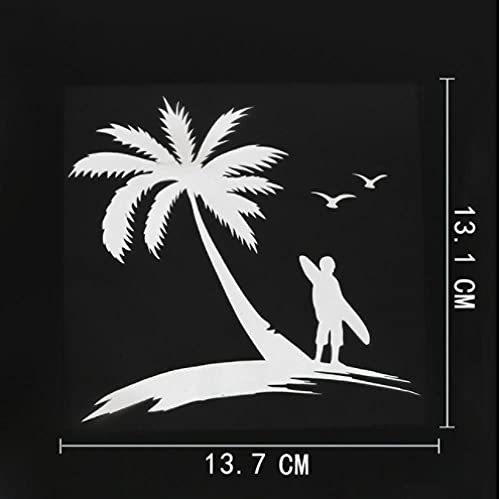 3 Piezas Etiqueta engomada del Coche 13,7 cm x 13,1 cm Surf Deportes acuáticos Playa calcomanía Vinilo Coche Pegatina Blanco