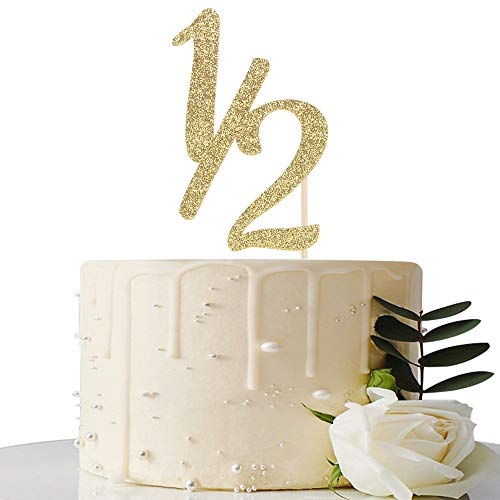 Gold Glitter Half Year Old Cake Topper - Half Year Cake Topper - for Half Year Anniversary / Baby Shower / Babys Half Year Old Birthday Party Decorations