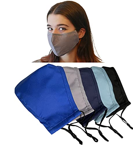 Xchime reusable cover with Filter Insert Pocket,Adjustable Ear Loops, Nose Wire, 3-layer cotton cloth fabric, for teens and adults, Washable, breathable, multi-color, 5-pack