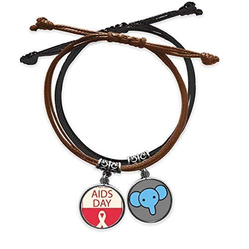 Beauty Gift Red Ribbon - Pulsera con símbolo del mundo del 1 de diciembre, cadena de mano, pulsera de elefante de cuero