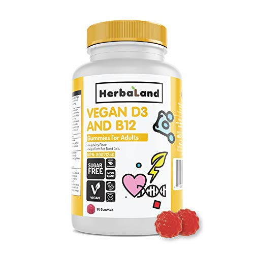 Vegan D3 and B12 Supplement by Herbaland - Plant-Based Sugar-Free Vitamin Gummies for Supporting Healthy Functioning of The Body - Vitamin D3 and B12 - Raspberry Flavor - 90 Gummies