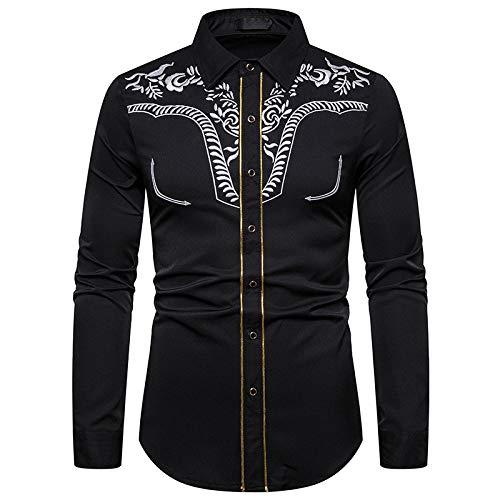 Jinyuan Hombre Camisas Bordada de Moda para Hombres Camisa Vaquera Occidental Camisa Casual de Rayas Doradas de Manga Larga para Hombre