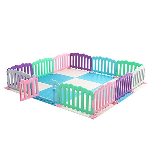 GUO@ Multicolore Baby Playpen Centre d'activités pour enfants Parc d'attractions Barrière de jeu pour enfants à la maison Garde-corps pour bébé Garde-corps 11 + 1 Panneaux avec coussinet en mousse