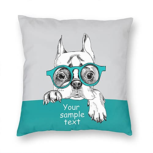 VERSUSWOLF Pillow Covers Card Template and Portrait of French Bulldog Wears Glasses Couch Throw Pillow Cover Square Soft Pillow Cases 12X12