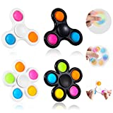 GOHEYI Fidget Pop Spinner Toys 4Pack,2 in 1 Push Bubbles Fidget Spinner Toy, Party Favor Simple Fidget Pop Spinner for Kids Reducing Boredom, ADHD, Anxiety