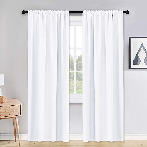 PONY DANCE Pure White Curtains - 42 x 90 inches Long Window Covering Rod Pocket Soft Fabric Polyester Drapes Thermal Curtain for Home Decoration, 2 Pieces