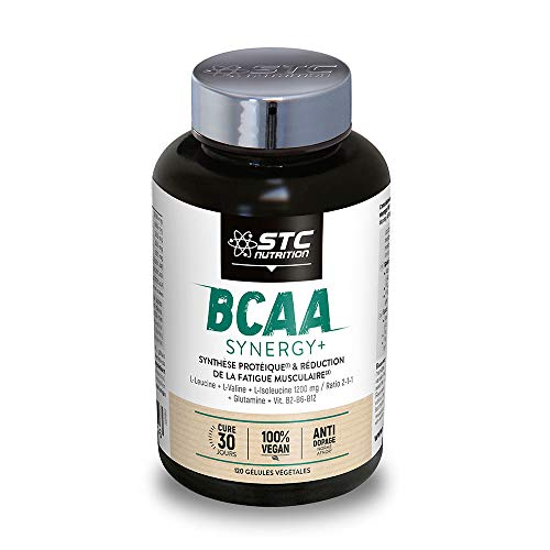 STC NUTRITION - BCAA Synergy+ - Complément alimentaire riche en acides aminés branchés - Augmente la résistance à l'effort — Réduit la fatigue musculaire - Limite les courbatures - 120 gélules - Vegan - Marque Française