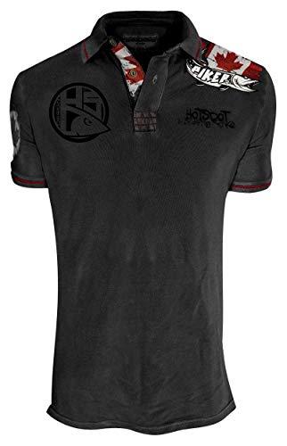 Hotspot Design Poloshirt Piker Canada, Schwarz Grau, Grösse XL, Angler Polo Hemd