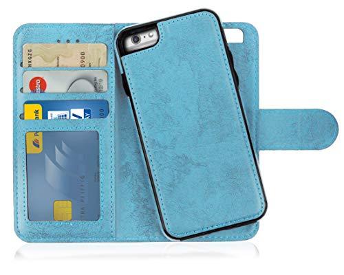 MyGadget Funda Flip Case con Tapa [2 en 1] para Apple iPhone 6 Plus en Cuero PU - Carcasa Cerrada con Soporte - Cubierta Magnética Separable - Azul Claro