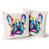 Granbey Boston Terrier Dog Pillowcase French Bulldog Original Watercolor Dog Cotton 18 X 18 Inch Pillow Case for Bedroom Sofa Couch Chair Car or Home Decoration