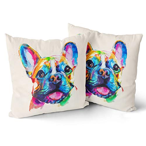 Granbey Animal Throw Pillow Cover 2pcs Boston Terrier Dog Pillowcase French Bulldog Original Watercolor Dog Cotton 18 X 18 Inch Pillow Case for Bedroom Sofa Couch Chair Car or Home Decoration