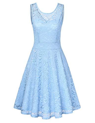 Clearlove Damen Midi Elegant Hochzeit Spitzenkleid Kurzarm Rockabilly Kleid Cocktail Abendkleider