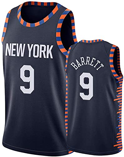 New York Knicks Men's Basketball Jersey - RJ Barrett # 9 Uniforme de Baloncesto Ciudad Edición Bordado Tops Ropa Camiseta Camiseta Chaleco Deportes Swingman Jersey (Color : Black, Tamaño : S)