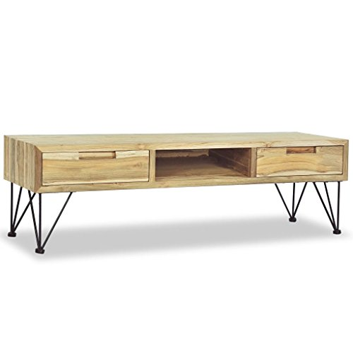 Luckyfu Deze tv-kast 120 x 35 x 35 cm van massief hout van Teak. De tv-kast is stijlvol en robuust.