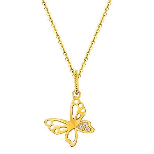 Collana Donna in Giallo Oro 14 ct con 0.03 ct Veri Diamante Pendenti a Forma di Farfalla, Lunghezza: 45 cm
