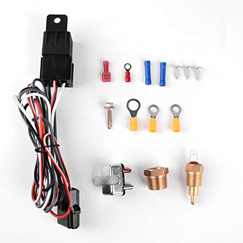 Cooling Fan Thermostat Switch TURN RAISE 175-185 Degree Engine Electric Cooling Fan Thermostat Temperature Switch 60Amp Sensor Relay New kit