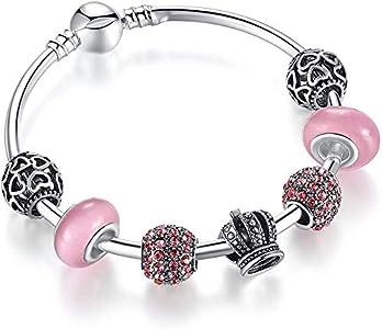 Yeaser Pulsera de abalorios con cuentas de cristal de Murano rosa y abalorios chapados en plata para bricolaje