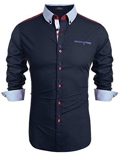COOFANDY Herren Hemd Langarm Leicht Bügeln aus Baumwolle Leinenhemd Freizeithemd für Männer Doppelfarbig Marine Blau l