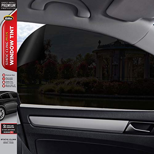 Gila Static Cling 20% VLT Automotive Window Tint DIY Easy Install Glare Control Privacy 2ft x 6.5ft (24in x 78in), 20% Black (10382378)