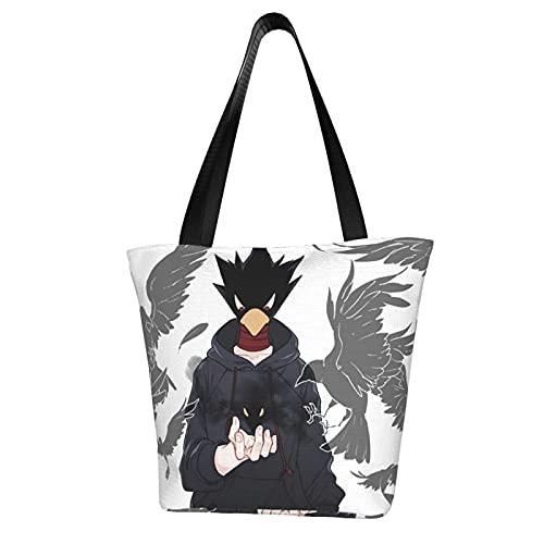 Anime My Hero Academia - Bolsa de lona para mujer, gran capacidad, un hombro, impresa, reutilizable, para ocio, oficina, escuela, compras