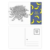 キク属植物の花のシルエット バナナのポストカードセットサンクスカード郵送側20個