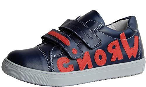 ennellemoo® Jungen-Kinder-Halbschuhe-Sneaker- Echt Leder-Schuhe-Klettverschluss-Premiumschuhe - Vollleder. (Marineblau/Rot, Numeric_36)