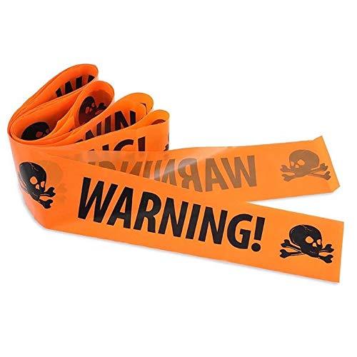 Halloween Absperrband Warnband Dekoration - Warning!   Warnung mit Giftsymbol/Schädel - Orange/Schwarz - 8 cm Breit, Länge Ca. 6 Meter