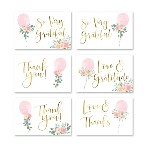 24 Pink Balloon Baby Shower Thank You Cards With Envelopes, Kids Thank-You Note, 4x6 Gratitude Card Gift For Guest Pack For Party, Birthday, For Girl Children, Cute Watercolor Blush Event Stationery
