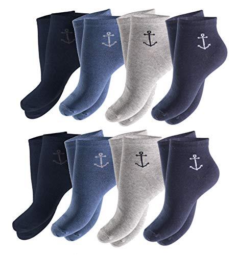 Good Deal Market 8 Paar maritime Kurzschaft Sneakers Socken für Herren Markensocken von Cocain Gr. 43-46 Maritim mit Anker