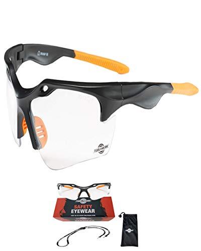 ToolFreak Schutzbrille | Maximaler UV Schutz | Beschichtet und Kratzfest für klare Sicht | Augen Schutz mit Sport Stil Design Sehr Leicht | Klare Glaeser oder Dunkle Glaeser (Klare Glaeser)