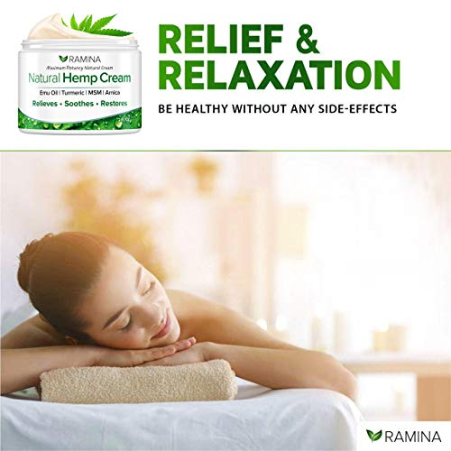 Ramina Natural Hemp Extract Pain Relief Cream - Made in USA - Potent Turmeric, MSM & Arnica - Relieves Muscle, Joint, Back, Knee, Nerves Pain - Non-GMO - 2 fl. Oz