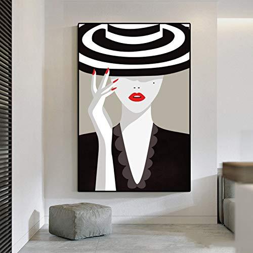 Mode Leinwand Malerei Vintage Mädchen Poster und Druck Wandkunst Bild für Wohnzimmer Studio Home Decoration