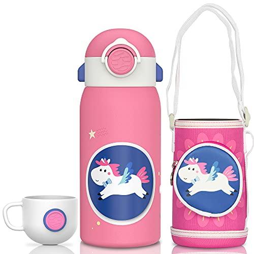 FJbottle Borraccia Termica per bambini con cannuccia 600ml + 2 Tappo + Zaino, 100% senza BPA Borraccia acciaio inox, bottiglia da viaggio per scuola, campeggio