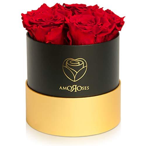 Amoroses Petite - Confezione Regalo 5 Rose Stabilizzate Eterne - Elegante Bouquet di Fiori Veri | Idea Regalo (Petite Scatola Nera con Rose Rosse)