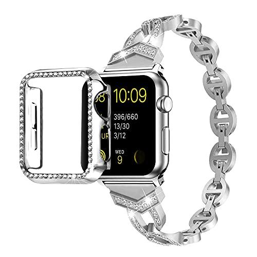 Qianyou Para Apple Watch 40 mm Series SE/6/5/4, correa de acero inoxidable con funda brillante, correa de repuesto de metal + carcasa rígida ultra fina antigolpes para iWatch 40 mm