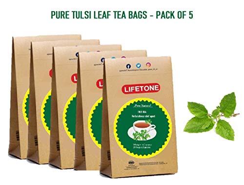 lifetone the tea for better life, Té TULSI | Cultivado orgánicamente | 100 bolsitas de té | Té para aliviar el estrés | Paquete de 5