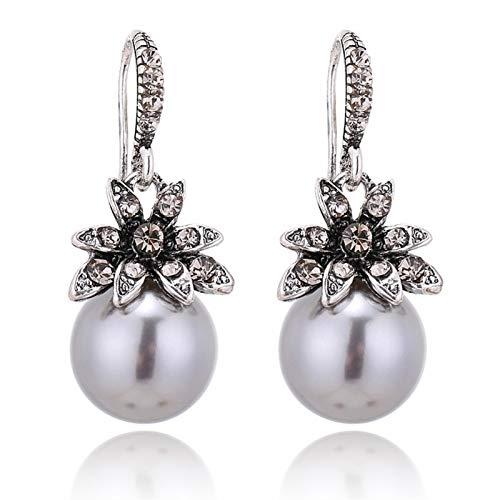 LLTT Pendientes De Perlas De Imitación con Incrustaciones De Diamantes De Imitación Exquisita Joyería De Boda Encantadora Mujeres Tres Colores (Metal Color : Gray)