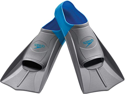 Speedo unisex-adult Swim Training Fins Rubber Short Blade,Blue/Grey,M - Men's Shoe size 7-8 | Women's Shoe size 8.5-9.5