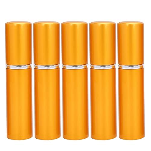 Atomizador de perfume recargable Botella de spray vacía con tapa de concha Bolsillo de varios colores en 5 piezas simples y elegantes para bolsillo o viajes, exteriores,(Golden)