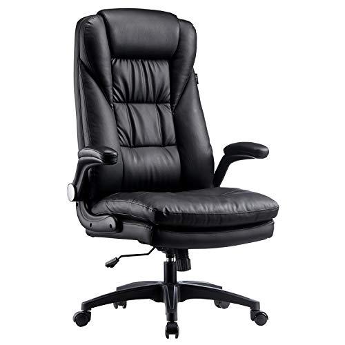 Hbada Bürostuhl Chefsessel ergonomischer Drehstuhl Kunstleder Schreibtischstuhl Verdickte Rückenlehne Klappbare Armlehne Schwarz