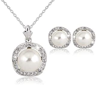 White Rhinestone Silver Plated Necklace Earring Set Bridal