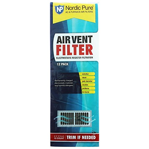Air Vent Filters 1 Pack of 12- 4x12 (Register Vent Filters) - by Nordic Pure
