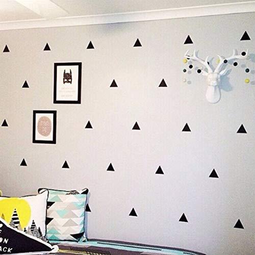 XuBa 154 Pcs Etiqueta Calcomanía de Pared Extraíble Unique Triángulo Forma Geométrica DIY de Arte Mural para decoración de Hogar Dormotorio de Niño Negro