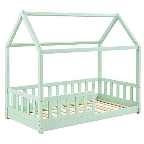 ArtLife Kinderbett Marli 80 x 160 cm mit Rausfallschutz, Lattenrost und Dach - Hausbett für Kinder aus Massivholz - Bett in Mint-Grün