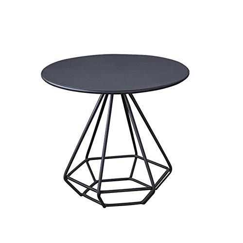 ZXQZ Table D'appoint, avec Table Basse Ronde en Acier, pour Salon, Chambre À Coucher, Balcon, Table De Salon 3 Couleurs (Or, Noir, Blanc) Table de thé (Couleur : Noir, Taille : 80cm/31.4'')